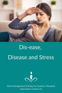 dis-ease, disease and stress. Why stress causes dis-ease and why dis-ease causes disease by Stress Mangement Training School - Stress Coach Training
